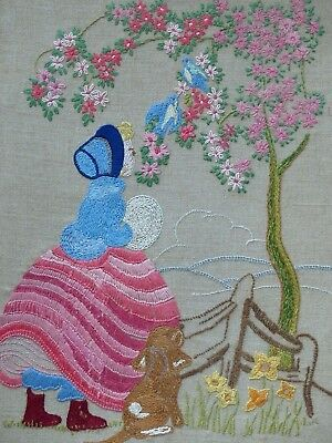 VINTAGE EMBROIDERED CRINOLINE LADY unframed PICTURE BLUE BIRD BLOSSOM TREE PUPPY
