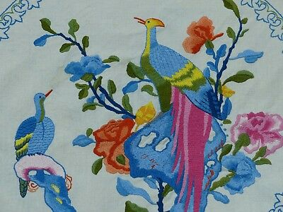 Vintage Embroidered Colourful Exotic ? Birds Of Paradise Tablecloth ?oriental