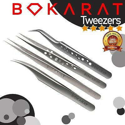 Bokarat Eyelash Extension Tweezers Tools Straight & Curved Stainless Steel