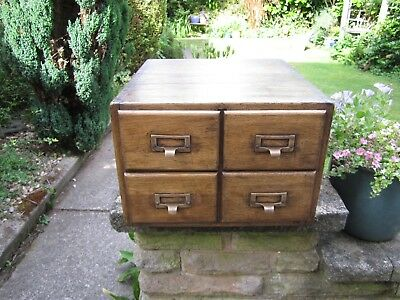 Old Wooden Card Filing Drawers With Original Brass Handles