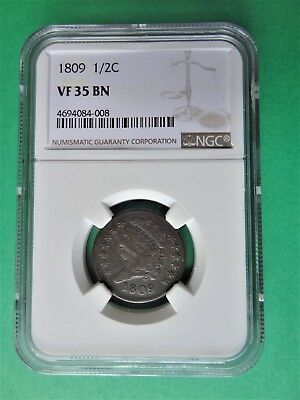 1809 1/2C Classic Head Half Cent - NGC certified VERY FINE 35 BROWN