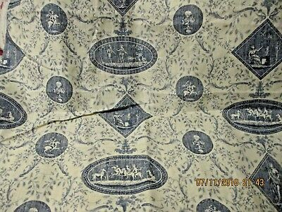 "Linen Toile Fabric Blue and Off White 60"" wide 2 Yds Free Shipping"