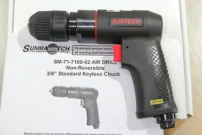 "Suntech 3/8"" Variable Speed Pneumatic Air Drill 0.5 HP Keyless Jacobs Chuck"