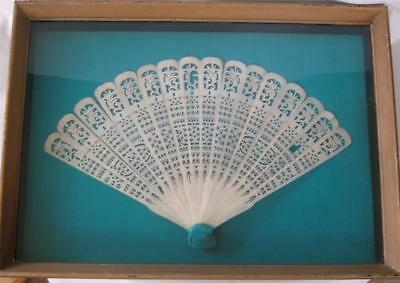 Antique Chinese Hand Carved Bone Brise Fan Shadowbox Frame Gold Turquoise