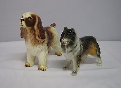 Vintage Pair Relco Standing Irish Setter And Collie Porcelain Figurines