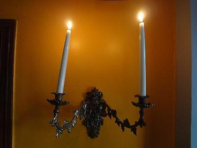 Vintage Brass Ornate Brass Victorian French Wall Mount CANDLE HOLDER Baroque