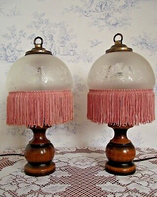 Matching Pair of French Vintage Wooden Lamps with Glass Shades Pink Tassels 615