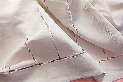 """Vintage French PURE Linen Floppy Sheet Drawn Thread Embroidery White 80"""" x 116"""""""