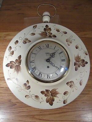 """Vintage Smith's England 8 Day 3 Jewel Toleware Tole Wall Clock 19"""""""