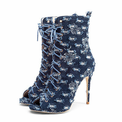 7c62496b2329 Womens Ankle Boots Lace Up Sexy Party Denim Fashion High Heel Stiletto Shoes  New
