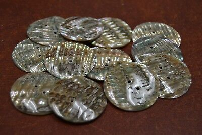 10 Pcs Round Abalone Shell Sewing Two Holes Buttons 35Mm #2288