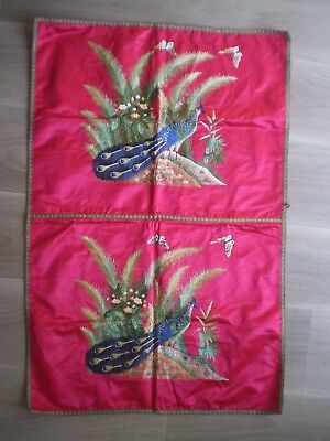 EMBROIDERY SILK RED CHINESE ANTIQUE PEACOCK BIRD ART ASIA SEWING 90cm X 60cm