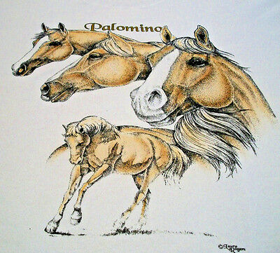 "Palomino Horse T-shirt  "" White ""  Large ( 42 ~ 44 )"