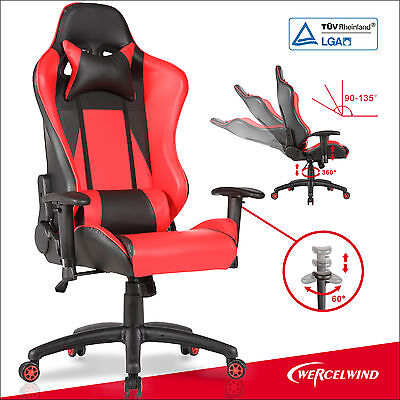 High Back Racing Gaming Office Chair Adjustable Reclining Leather Computer Chair