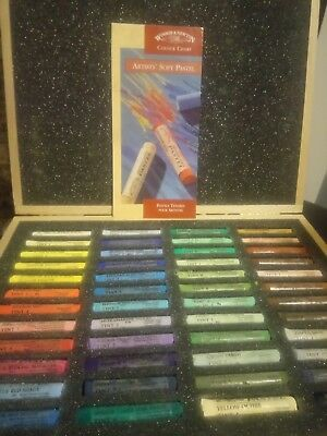 WINSOR & NEWTON 48 Piece Soft Pastel Set In Wooden Box - still with colour chart