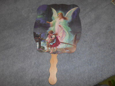 Advertising Hand Held Fan - Guardian Angel With Children