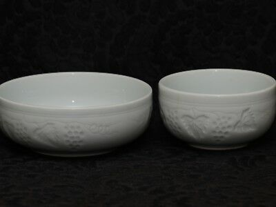 2 (Two) KOREAN CALEDON INTAGLIO GRAPES & LEAVES Ceramic Low Nesting Bowls