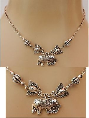 Elephant Necklace Pendant Silver Handmade NEW Women Fashion Chain Animal