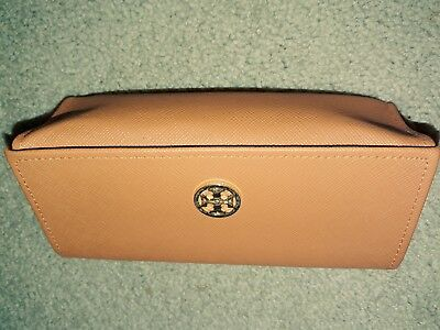 TORY BURCH Orange Gold Tone Logo Snap Closure Sunglasses & Reading Glasses Cases