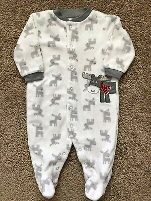 Carters White and Grey Moose Fleece Footed Sleeper 6 Months