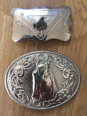 2 Chambers Vintage Belt Buckles 1 Marked Phoenix Quality 24kt Gold Plated Horse