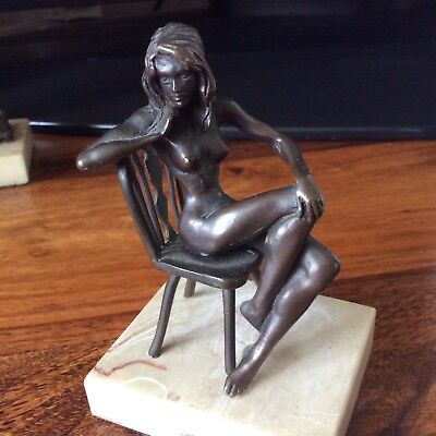 Nude Bronze Lady On  Bronze Chairing Marbled Base , One Of Set Of Four