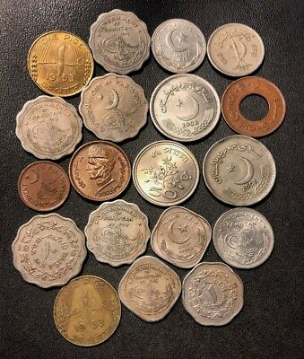 Old Pakistan Coin Lot - 1948-PRESENT - 19 ISLAMIC Uncommon Coins - Lot #712