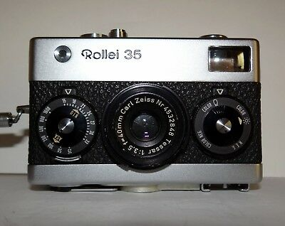 Rollei 35 made in Germany-Zeiss Tessar lens -E++ Meter and all speeds work well