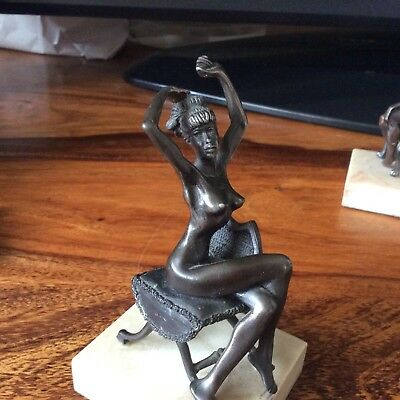 Nude Bronze Lady On Bronze Bedroom Chair On Marbled Base, One Of A Set Of Four
