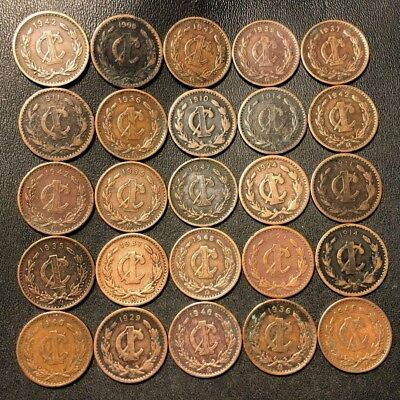 Old Mexico Coin Lot - 1906-1946 - 25 Excellent Centavo Coins - Lot #712