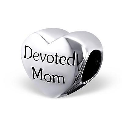 925 Sterling Silver Devoted Mom Mothers Day Bracelet Charm Bead Gift Boxed B189