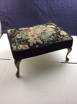 """Antique Foot Stool Brass Feet Embroidered Floral Top 17"""" x 13"""" x 9"""" tall"""