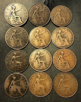 Vintage Great Britain Coin Lot - 12 LARGE Pennies - 1904-1918 - Lot #712