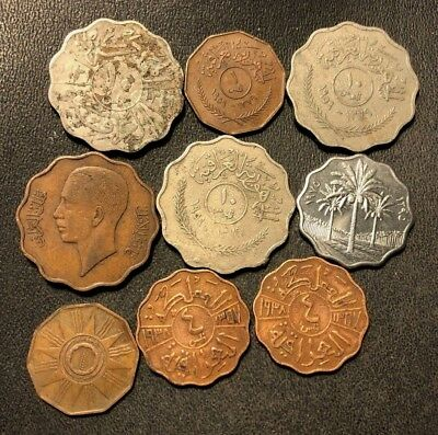 Old IRAQ Coin Lot - 1931-Present - 9 Scarce Coins - Lot #712