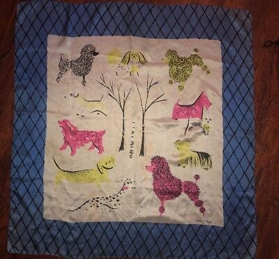 Vtg Tammis Keefe Large Silk Poodle Scarf Signed Handkerchief 50s 60s