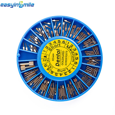 Easyinsmile 120/Box Dental Stainless Steel Screw Posts Kits Assorted Gold Plated