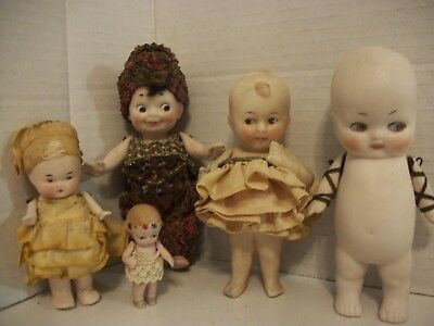LOT Of 5 Antique German Bisque Googly /Slide Glancing Eyed and Pouty Dolls !!