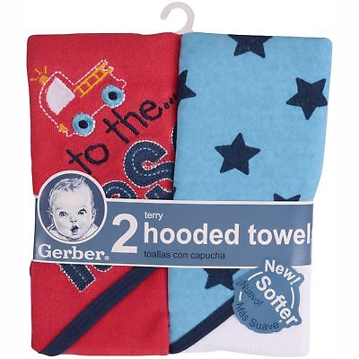 Gerber Baby Boys 2 Pack Hooded Towels Firetruck Design NEW Adorable