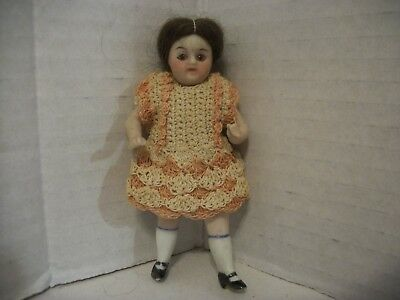 4 In.Antique Glass Eye Jointed German Miniature Dollhouse Doll Dressed !CUTE!!!