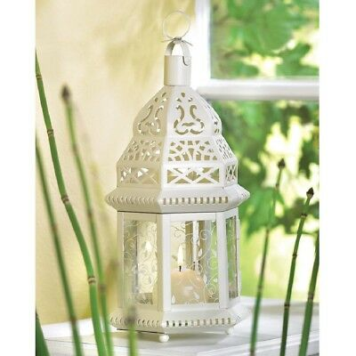 """24 pc Lot Lacy White Moroccan Candle Holder 12"""" Lantern Wedding Centerpiece New"""