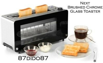 💙 Next Glass 2 Long Slot Toaster Defrost Cancel Bagel Browning Auto Setting Led