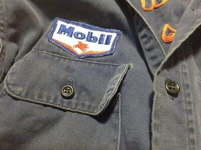 Vintage Mobile Patch 1 Of A Kind Mechanic Button WORK SHIRT petroliana Gas Oil