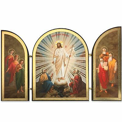 "Resurrection of Christ Triptych Wooden Gold Foil 4 3/4"" Tall x 7 3/4"" Width"