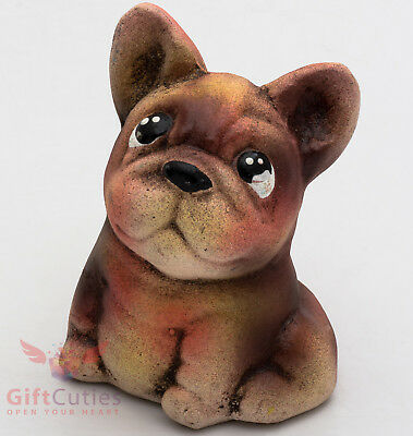 Clay Grog figurine French Bulldog puppy dog souvenir handmade & hand-painted