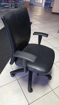 Steelcase Turnstone Black Leather Executive Desk Chair - PICK UP ONLY