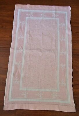 Antique Pink Damask Linen Art Deco Towel Stripe border Tree of Life