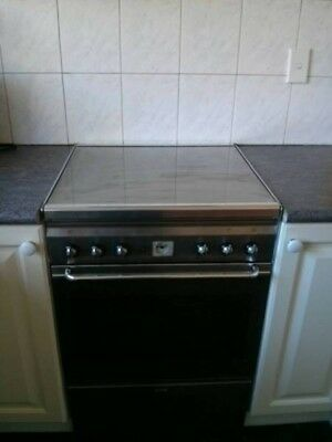 Smeg gas freestanding stainless steel stove and matching ranghood.