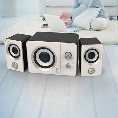 NEW Speaker System USB Computer PC Desktop Laptop Speakers Bass Subwoofer White