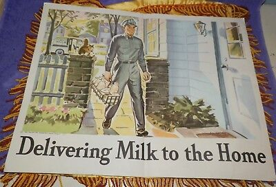 1960 The Dairy Council School Classroom Poster-Delivering Milk to the Home