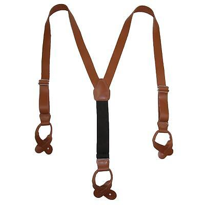 New CTM Men's Leather Button-End 1 Inch Suspenders